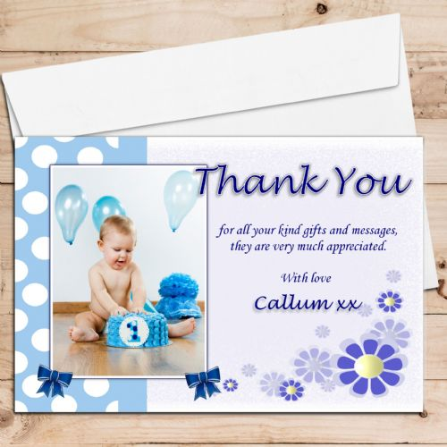 10 Personalised Boys Birthday Christening Thank you PHOTO Cards N106